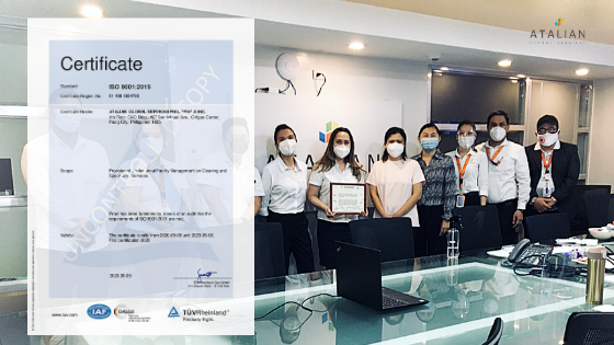 Atalian Philippines gains ISO 9001:2015 Quality Management System